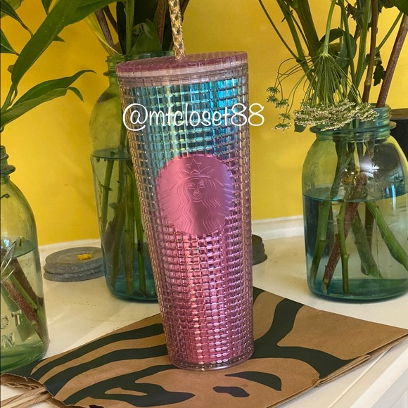 Summer 2021 Starbucks Pink and Blue grid cup